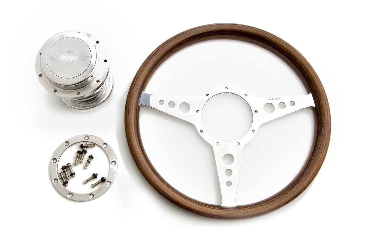 "MK9 Walnut Steering Wheel with Holes - 14""-0"