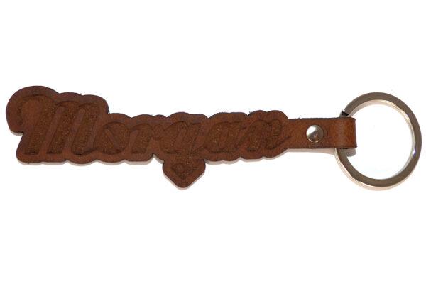 Morgan Script Brown Leather Lasered Key Fob -0