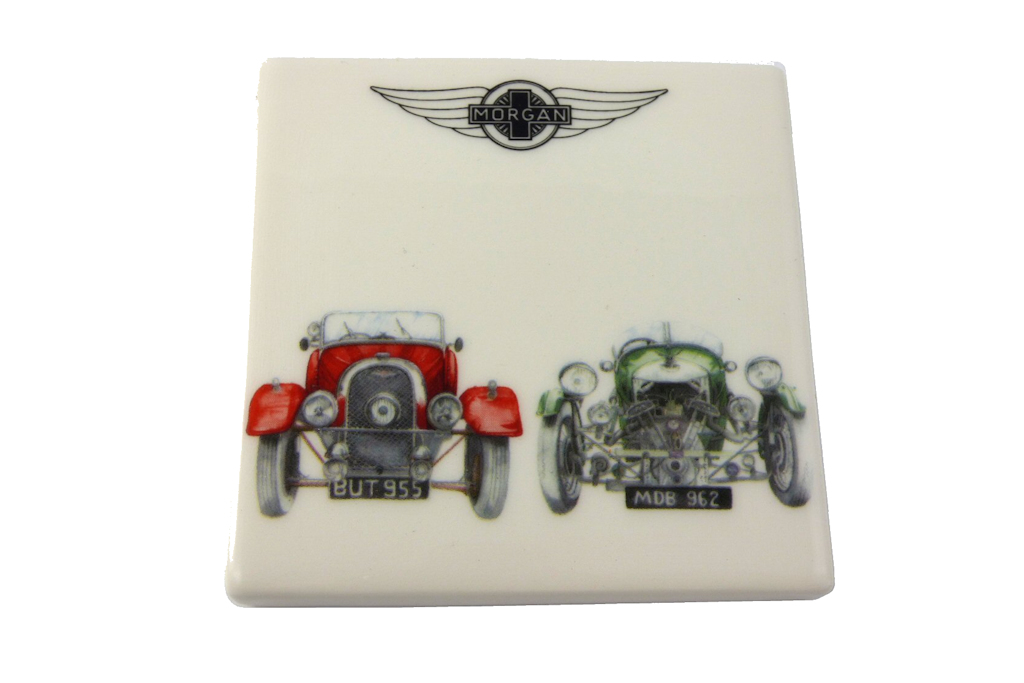 Ceramic Coaster with 2 Vintage Morgan Cars with Morgan logo-0