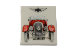 Fridge Magnet by Michele Butler Art featuring a red Flat Rad Morgan-0