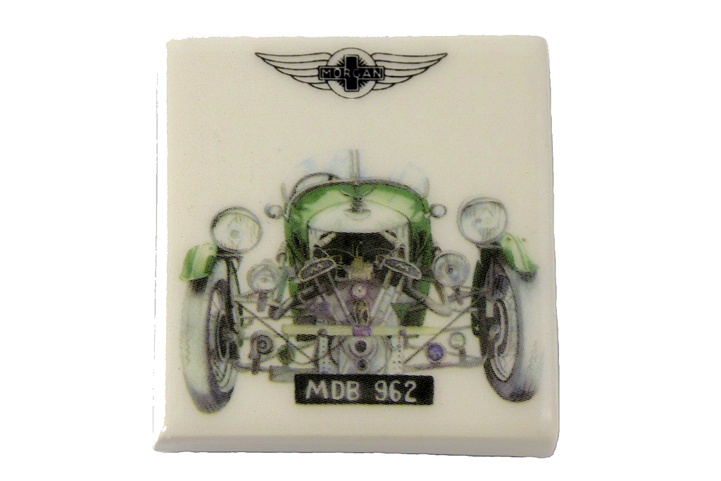 Fridge Magnet by Michele Butler Art featuring a green 3 Wheeler-0