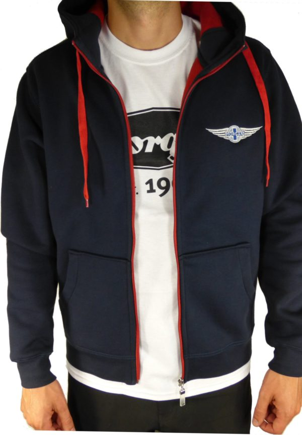 """Navy & Red Men's Hooded Top embroidered with Morgan """"Wings"""" Logo-2090"""