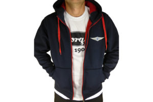 """Navy & Red Men's Hooded Top embroidered with Morgan """"Wings"""" Logo-0"""