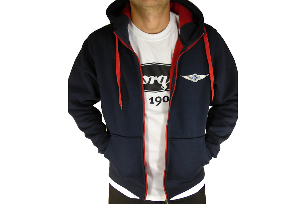 "Navy & Red Men's Hooded Top embroidered with Morgan ""Wings"" Logo-0"
