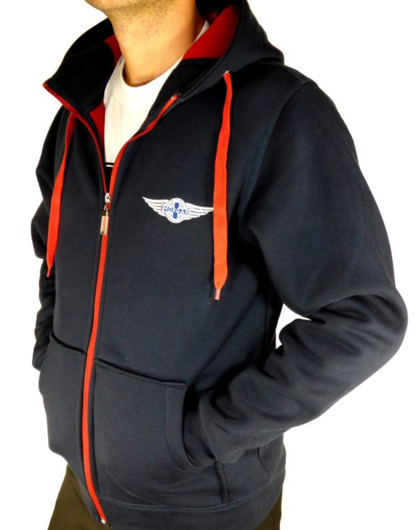 """Navy & Red Men's Hooded Top embroidered with Morgan """"Wings"""" Logo-2088"""