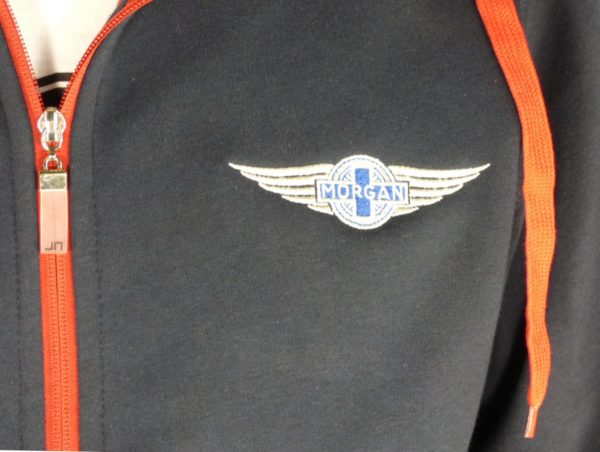"""Navy & Red Men's Hooded Top embroidered with Morgan """"Wings"""" Logo-2087"""