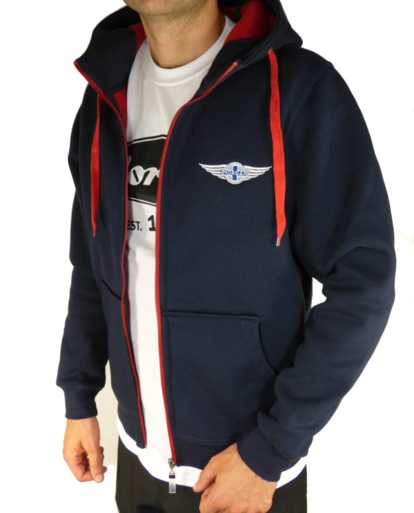 """Navy & Red Men's Hooded Top embroidered with Morgan """"Wings"""" Logo-2089"""