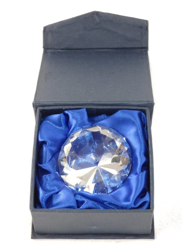 "6cm optical crystal diamond paperweight engraved with Morgan ""Wings"" logo-2072"