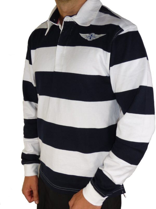"Navy & White Striped Rugby Shirt Morgan ""Wings"" Embroidered-2026"
