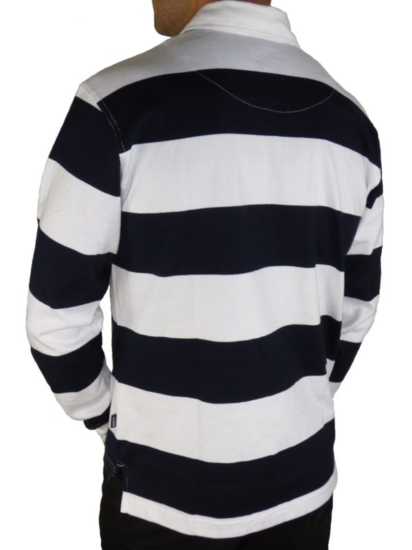 "Navy & White Striped Rugby Shirt Morgan ""Wings"" Embroidered-2025"