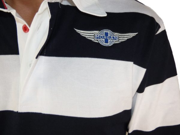 "Navy & White Striped Rugby Shirt Morgan ""Wings"" Embroidered-2028"
