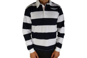 "Navy & White Striped Rugby Shirt Morgan ""Wings"" Embroidered-0"