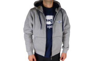 "Grey & Navy Men's Hooded Top embroidered with Morgan ""Wings"" Logo-0"