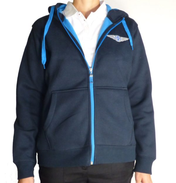 "Navy & Aqua Ladies Hooded Top embroidered with Morgan ""Wings"" Logo-2143"