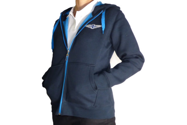 "Navy & Aqua Ladies Hooded Top embroidered with Morgan ""Wings"" Logo-0"