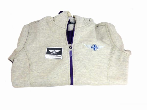 "Grey & Heather Purple Ladies Hooded Top embroidered with Morgan ""Wings"" Logo-3013"