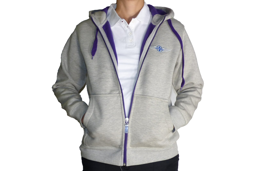 "Grey & Heather Purple Ladies Hooded Top embroidered with Morgan ""Wings"" Logo-0"