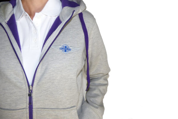 "Grey & Heather Purple Ladies Hooded Top embroidered with Morgan ""Wings"" Logo-2486"