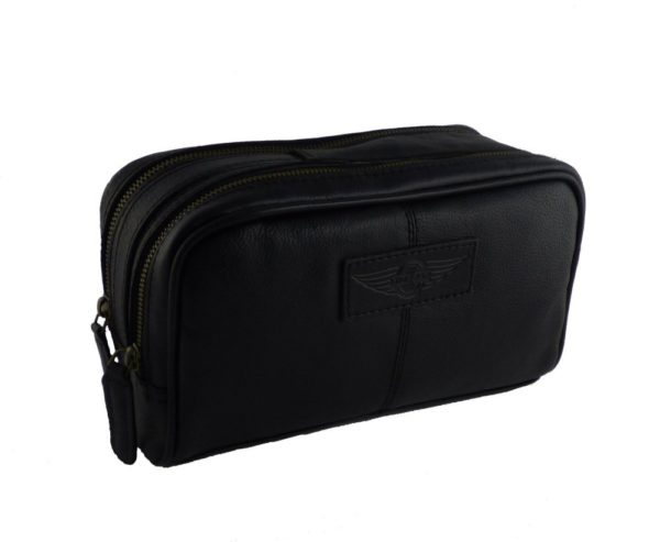 Luxury leather washbag embossed with Morgan wings logo-2256