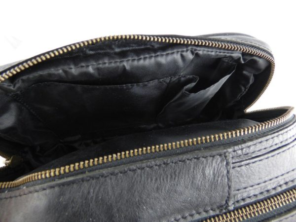 Luxury leather washbag embossed with Morgan wings logo-2257