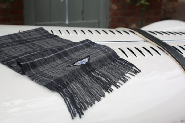 Grey Wool Check Winter Scarf with Wings logo-3008