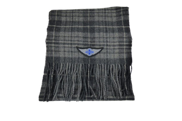 Grey Wool Check Winter Scarf with Wings logo-0