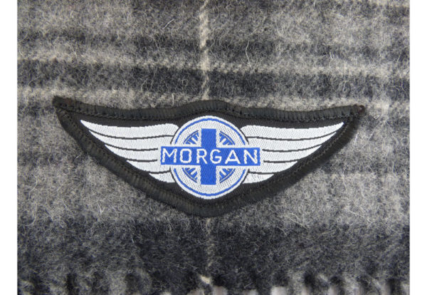 Grey Wool Check Winter Scarf with Wings logo-2368