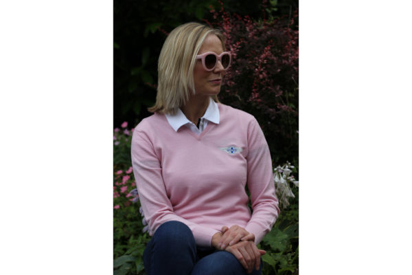 Peter Scott Ladies V-Neck Merino Jumper in Petal Pink-2852