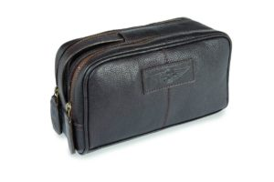 Luxury leather washbag embossed with Morgan wings logo-0