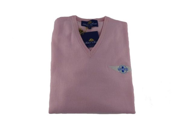 Peter Scott Ladies V-Neck Merino Jumper in Petal Pink-0