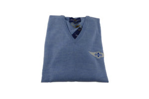 Peter Scott Ladies V-Neck Merino Jumper in Glacier Blue-0