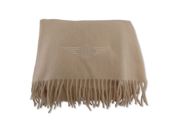 Large 100% Cashmere Camel Scarf with Morgan Wings Embroidery-0