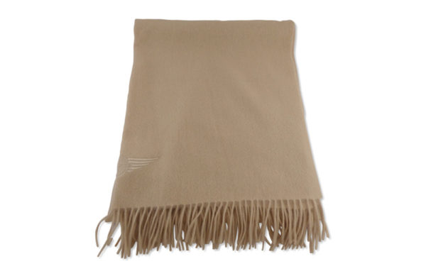 Large 100% Cashmere Camel Scarf with Morgan Wings Embroidery-2350