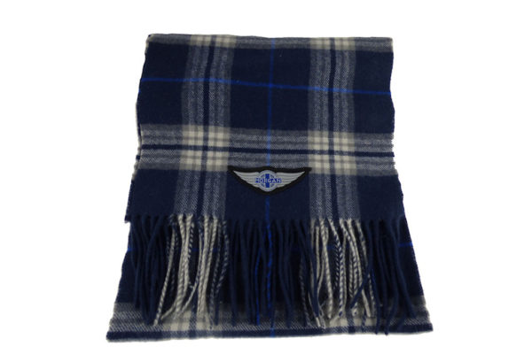 Navy Blue Wool Check Winter Scarf with Wings logo-0