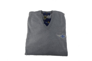 Peter Scott Mens V-Neck Merino Jumper in Grey-0