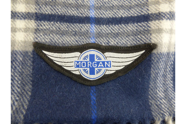 Navy Blue Wool Check Winter Scarf with Wings logo-2476