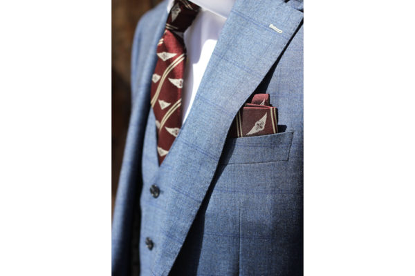 "Morgan Silk Pocket Square - ""Wings Logo""-2916"