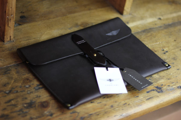 Tablet Sleeve Waxed Leather Black - Cherchbi-0