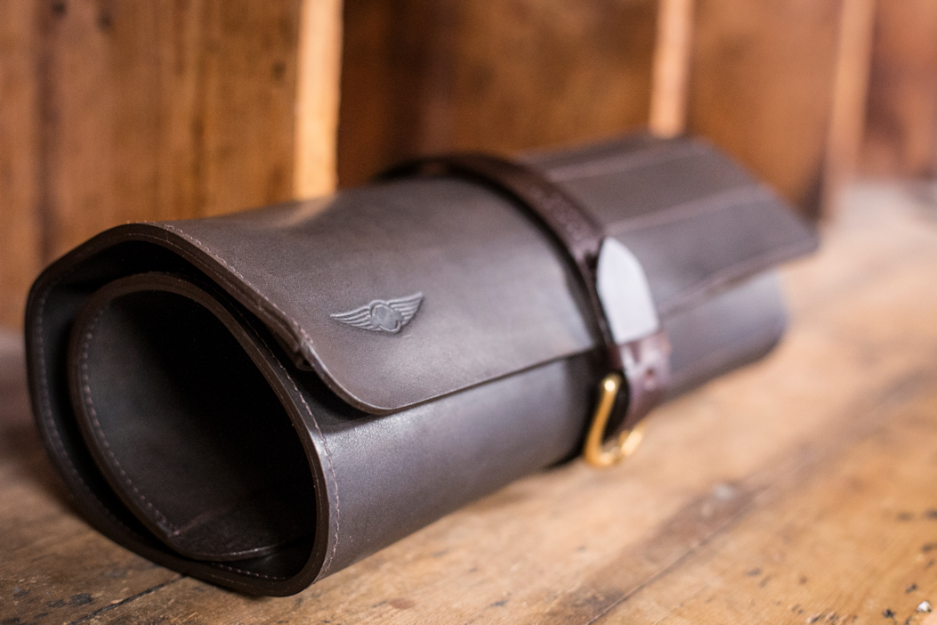 Waxed Leather Tool Roll Brown - Cherchbi-0