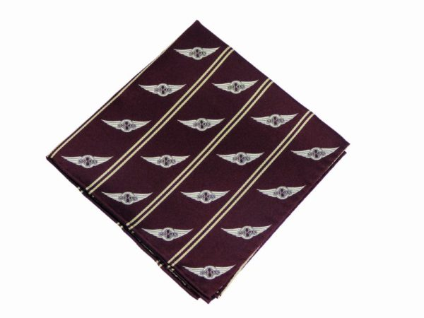 "Morgan Silk Pocket Square - ""Wings Logo""-2859"
