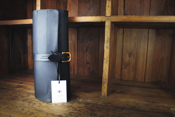 Waxed Leather Tool Roll Black - Cherchbi-0