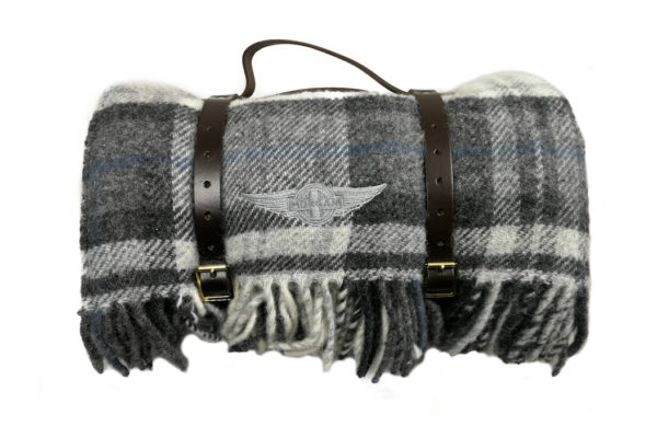 Pure New Wool lllusion Gray & Black Picnic Rug with Leather Straps-0