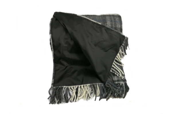 Pure New Wool lllusion Gray & Black Picnic Rug with Leather Straps-3788