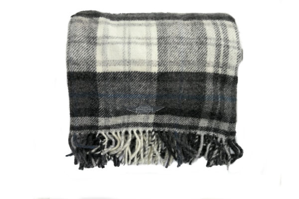 Pure New Wool lllusion Gray & Black Picnic Rug with Leather Straps-3790