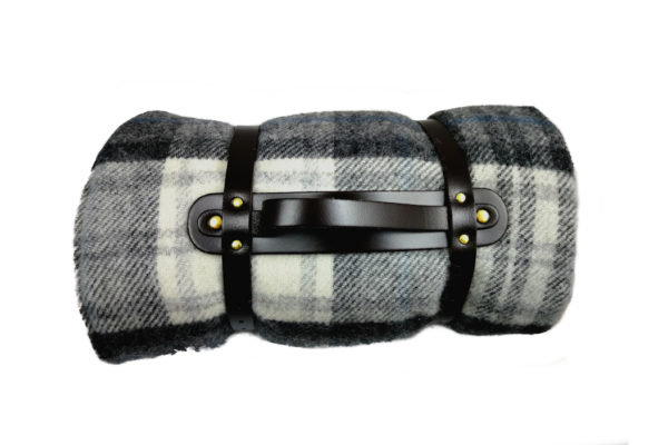 Pure New Wool lllusion Gray & Black Picnic Rug with Leather Straps-3792