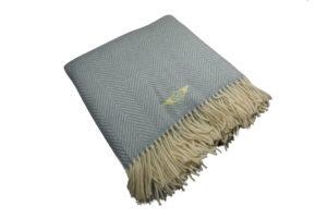 Duck Egg Blue Fishbone Blanket / Throw-0