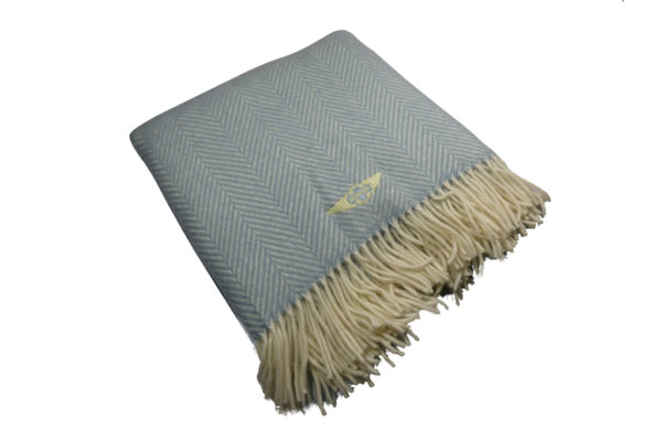 Duck Egg Blue Fishbone Blanket / Throw-0