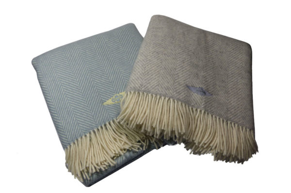 Duck Egg Blue Fishbone Blanket / Throw-3015