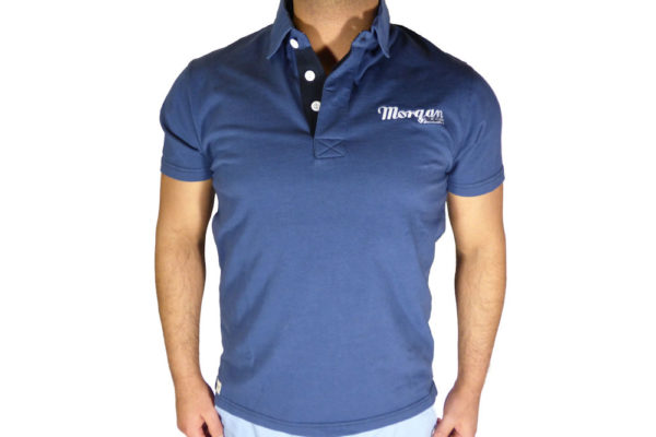 Mens Vintage Blue Polo Shirt-0