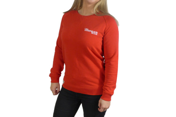 Ladies Red Sweat Top with Morgan Embroidery -3409